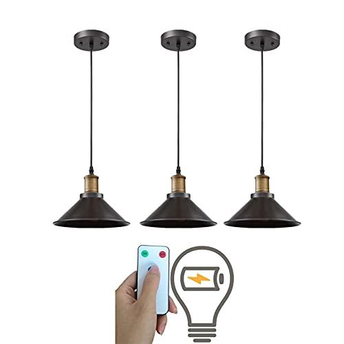 Paquete de 3 lámparas colgantes industriales, lámparas colgantes negras ajustables, Luz colgante de granja inalámbrica para interiores con control remoto con batería para isla de cocina, regulable