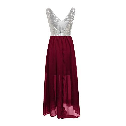 H.eternal(TM) Señoras lentejuelas profundo V sexy vestido de moda color sólido falda larga verano Casaul vestidos de trabajo, Vino, XL