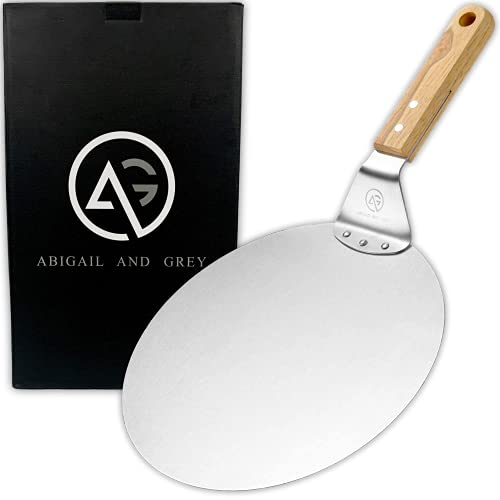 Metal Pizza Peel with Handle by ABIGAIL AND GREY - Stainless Steel Pizza Paddle and Pizza Spatula for Baking Homemade Pizza and Bread - Round 10' with Wood Handle