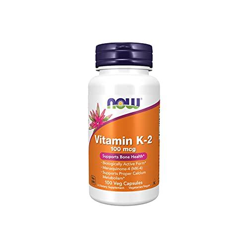 NOW Supplements, Vitamin K-2 100 mcg, Menaquinone-4 (MK-4), Supports Bone Health, 100 Veg Capsules