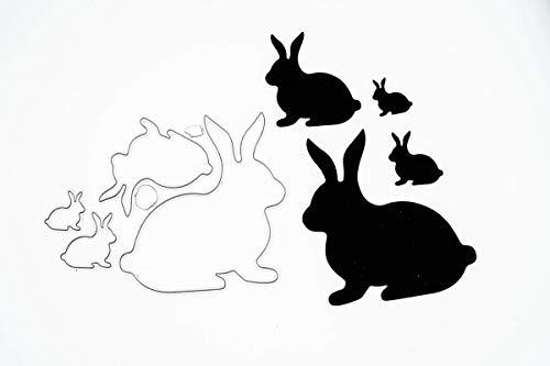 Stanzschablone: Vier verschiedene Hasen   BigShot kompatibel   Für alle gängigen Stanzmaschinen geeignet