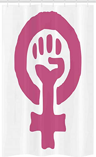 ABAKUHAUS Feminist Schmaler Duschvorhang, Feminismus Ideologie, Badezimmer Deko Set aus Stoff mit Haken, 120 x 180 cm, Magenta & Weiß