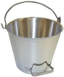 Premium Stainless Steel Pail, Vet/milk Bucket, Made in Usa, Completely Seamless & Thick, 9-20 Qt Sizes (13 Qt, Pail with Side Pour Handle)