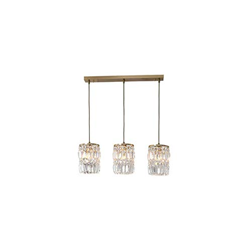 Qyyru Crystal Creativity Design Lámpara colgante, lámpara colgante minimalista nórdica Lámpara de araña moderna cuadrada de tres cabezas Enchufe E27 Comedor Sala de estar Luminaria colgante, Altura aj