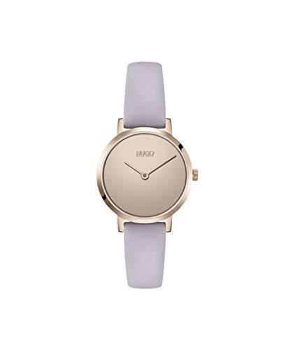 HUGO by HUGO BOSS #CHERISH 1540083 - Reloj de cuarzo de acero inoxidable con correa de piel de becerro, color morado