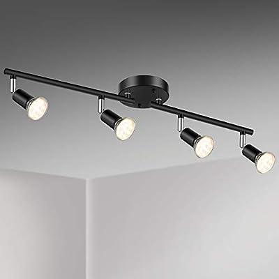 Unicozin LED 4 Light Track Lighting Kit, Black 4 Way Ceiling Spot Lighting, Flexibly Rotatable Light Head, Track Light Included 4 x LED GU10 Bulb (4W, Warm White 2700K, 400LM)