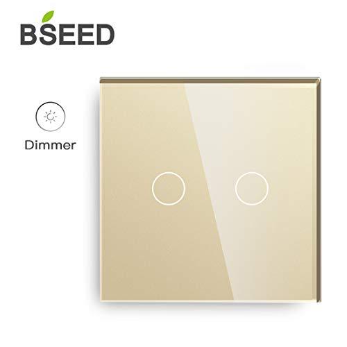 BSEED Dimmer Schalter Led Dimmer Touch Lichtschalter 2-fach 1 weg Glas Touch Schalter Gold Touchscreen-Funktioniert mit dimmer LED-Glühlampen