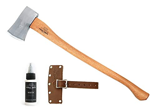 1844 Helko Werk Germany Classic Forester - 3.5 lb Felling Axe - Full Size General Purpose Axe with Sheath 10495