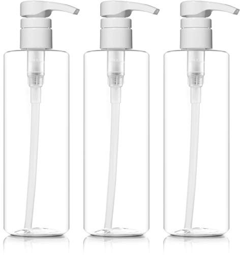 BAR5F Plastic Bottles with Pump Dispenser, 16 oz | Leak Proof, Large, Empty Clear Cylinder, Refillable, BPA Free for Shampoo, Hair Conditioner, Lotion, Oils (Set of 3)