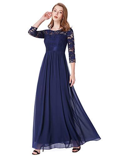 Ever-Pretty Vestiti da Cerimonia Donna 3/4 Manich Stile Impero Maxi Linea ad A Pizzo Chiffon Abiti da Damigella Blu Navy 42