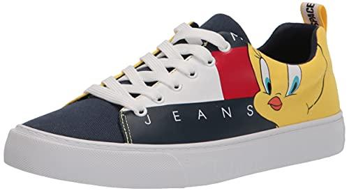 Tommy Hilfiger Women's Bird Sneaker, White/Navy/Red/Yellow, 11