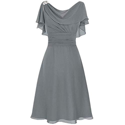 LOPILY Abendkleid Große Größen Damen Rüschen Kurzarm V-Ausschnitt Cocktail Kleid Rückenfreies Kleid Übergrößen Festliche Kleider für Damen Große Größen Kleid für Hochzeit Gast (Grau, DE-38/CN-L)
