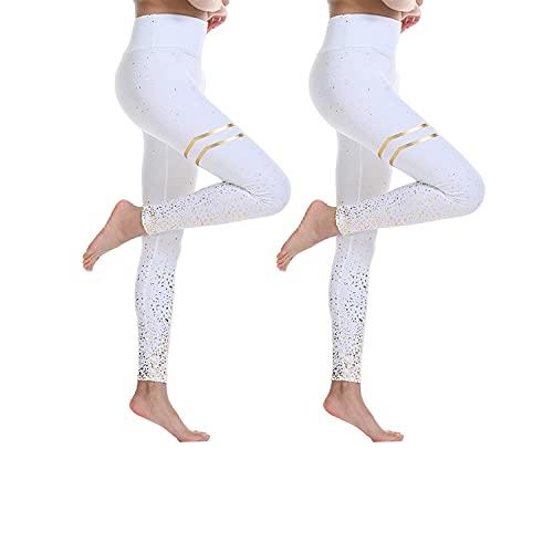BESIDE STAR 2 Piezas Ropa Deportiva Mujer, Mallas de Deporte de Mujer con impresión centelleante, Leggins Mujer, Pantalones Mujer Crossfit, Yoga Fitness Blanco S