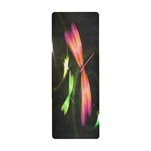 MNSRUU Dragonfly - Esterilla de yoga con bolsa de 26 x 71 pulgadas (66 x 180 cm) antideslizante de goma plegable para yoga, pilates, mujeres, ejercicio en el hogar