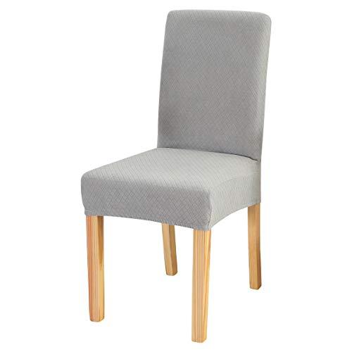 Padgene Fundas elásticas para sillas de comedor - Fundas de licra extraíbles y lavables para sillas altas 6 Piezas abajo gris