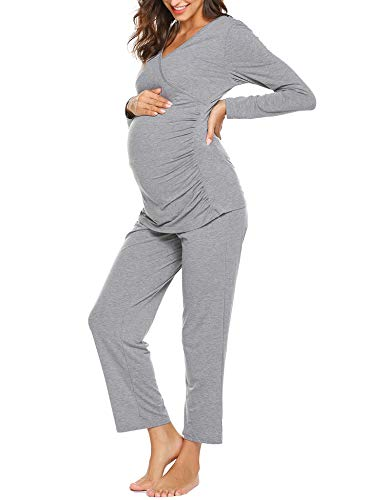Ekouaer Women Layered Maternity & Nursing Pajama Set Soft Pregnancy Sleepwear (S-XXL)