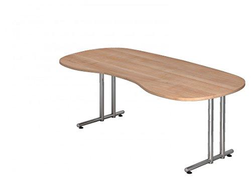 DR-Büro Schreibtisch 200 x 100 cm nierenform - Höhe 72 cm, Gestell in Chrom - Bürotisch in 7 Farben, Farbe:Nussbaum