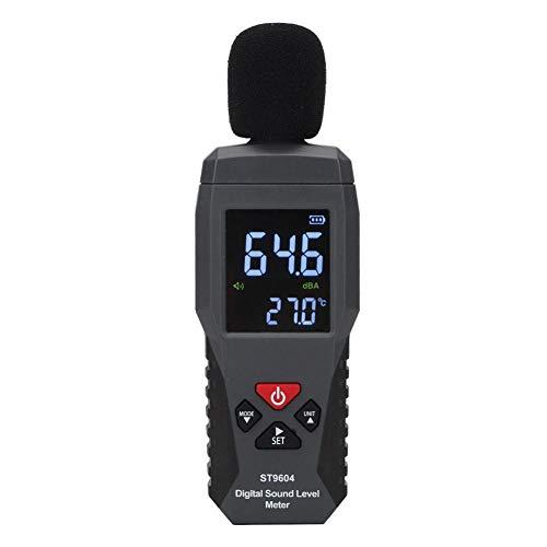 Schallpegelmesser, Digitaler Schallpegelmesser Bereich 30-130 dB Geräuschpegelmessgerät Selbstkalibrierter Dezibel-Überwachungstester ST9604