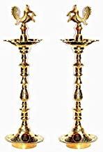 Wish Divine Tamil Embossed Brass Kuthuvilakku Gold (24Inches) Pack of 2