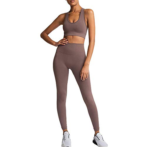 Women's Workout Outfits 2 Pieces Yoga Set Gym Exercise Seamless Yoga Leggings with Sports Bra Fitness Activewear (Brwon, M)