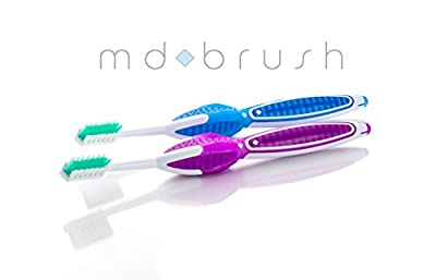 MD Brush - The Ultimate Toothbrush Designed to Prevent Gum Disease. Removes Plaque, Prevents Bad Breath & Stain. Reduces Risk of Gingivitis & Periodontitis. ADA Approved Technique