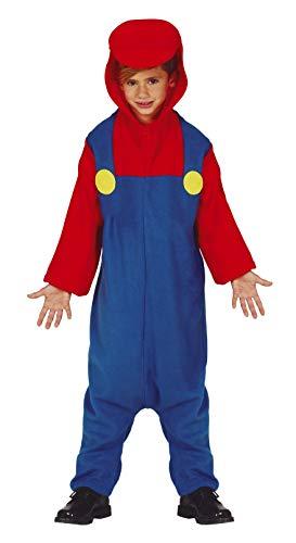 Guirca Super Klempner Jumpsuit Kostüm für Jungen - Größe 110-146 - Kinder Fasching Karneval Halloween, Größe:128/134