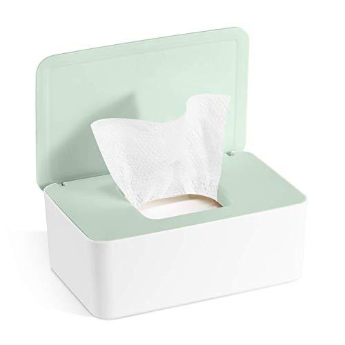 Caja para Toallitas Húmedas, Dispensador de toallitas de pañal Caja, Caja de Servilletas, Bebé Caso Titular Caja, Pañales de Bebé Mojado Tejido Caja (Verde + Blanco)