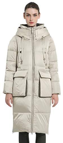 ICEbear Women Thick Winter Coat Long Down Jacket Ladies Puffer Coat Hooded Parka,Beige,XL