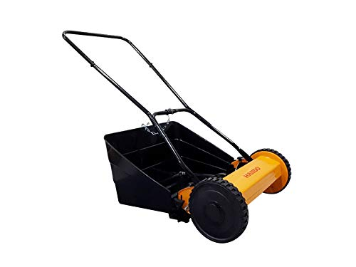 HNC 16 inch Manual Reel Lawn Mower with Grass Catcher, 5 Blade