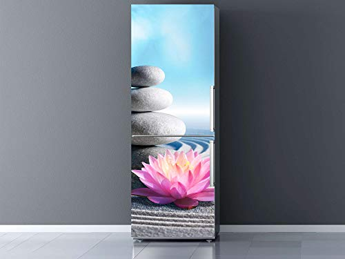 Vinilo para Frigorífico Piedra Blanca, Flor de Loto y Arena Zen 185x70cm | Adhesivo Resistente y Económico | Pegatina Adhesiva Decorativa de Diseño Elegante