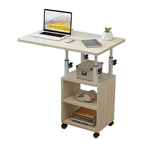 Mesa de ordenador portátil con ruedas universal ajustable con estante para casa, oficina, sala de estar, mesa de aprendizaje, mesitas de noche de 60 x 40 cm, bandeja de comida