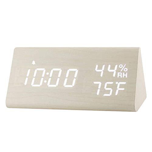 Despertador Digital Relojes eléctricos Dormitorio de Madera Decorativo Adornos de cabecera Blanco