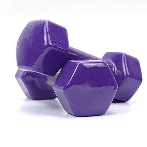 LUSTAR Un Par de Mancuernas Hexagonales, Moradas para Entrenamiento de Levantamiento de Pesas,Pesas de Gimnasio en Casa 0.5KG 1KG 1.5KG 2KG 2.5KG 3KG 4KG 5KG,Purple-(2.5KG*2)