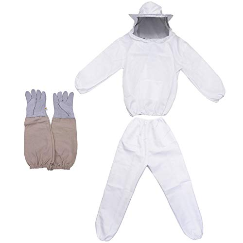 Bee Keeper Outfit, Bee Keeping Gear, Beekeeping Suit Protective with Veil Hood (Jacket, Pants, Gloves) White