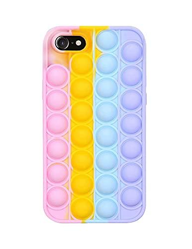 SDTEK Coque Rainbow Pop Compatible avec iPhone 7/8 / Se 2020, Coque Fidget en Silicone Souple Multicolore