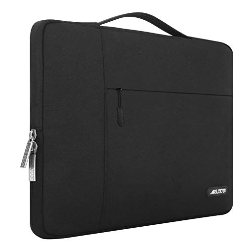 MOSISO Laptop Briefcase Compatible with 15 inch MacBook Pro with Touch Bar A1990 A1707, 14 inch ThinkPad Chromebook, Polyester Multifunctional Sleeve Carrying Bag, Black