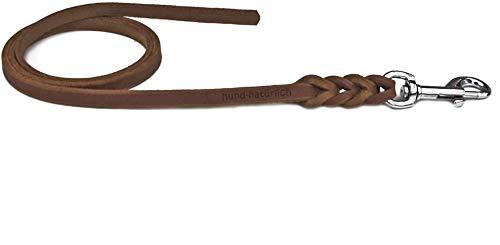 Fettlederleine 5m braun mit Chrom Haken, Schleppleine aus Leder für Hunde (5m x 10mm)