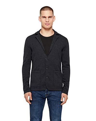 Boss Alblesar 020 - Chaqueta de punto de lana merino fina con botones de goma, color gris oscuro, gris oscuro, S