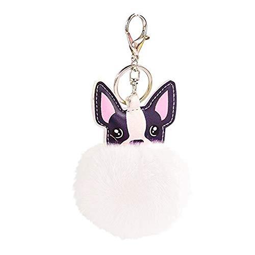 HanYoer Cute Animal 8cm Fur Ball Faux Fur Puff Ball Dog Keychain Bag Car Ring Pendant Keyrings (White)