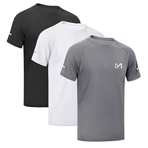 MEETYOO Sportshirt Herren, Laufshirt Kurzarm T Shirts Männer Funktionsshirt Atmungsaktiv Fitnessshirt für Running Jogging Gym