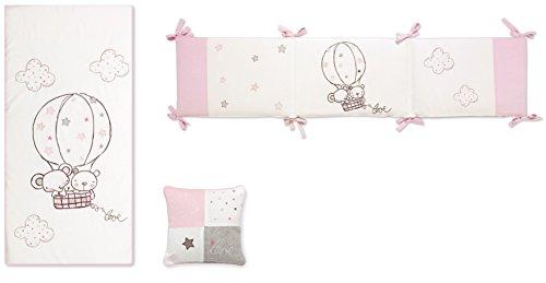 Pirulos Globo - Edredón, protector y cojín, 72 x 142 cm, color blanco y rosa