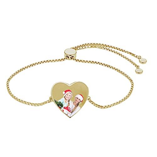 Pulsera de corazón personalizada Pulsera de longitud de cadena ajustable Pulsera de foto Pulsera de pareja Pulsera de mujer(Oro 8.3)