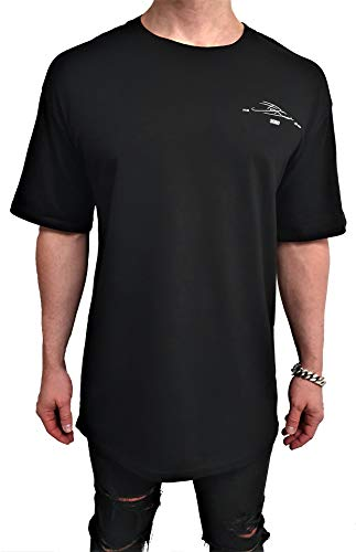Oversize Session ONE Designer Tee 100% Baumwolle Print Backprint Shirt Herren Kurzarm lang Drop Basic Rundhals Vintage Classics Sweatshirt Longshirt Cotton Oversized Sommer (XL, SCHWARZ - weiß)