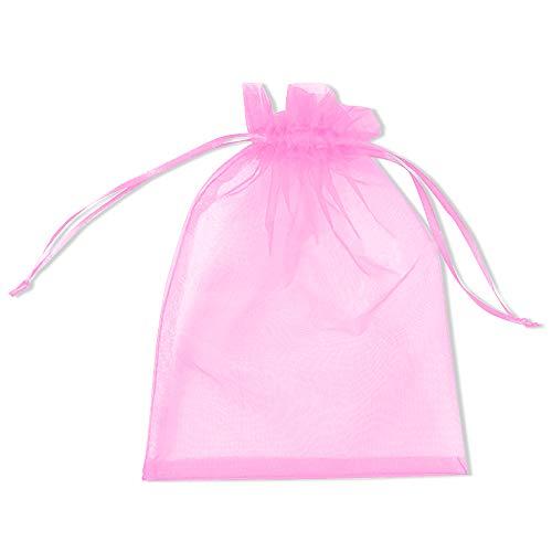 PLECUPE 100 Stück Durchsichtig Tunnelzug Organzabeutel Organzasäckchen Süßigkeiten Beutel Saeckchen Geschenk, 10 x 15cm Hochzeit Säckchen Party Festival Beutel Bonbonsbeutel Candy Bags - Rosa