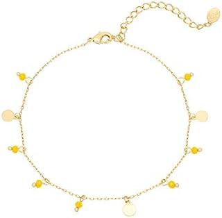 623fed17df Bracelet de cheville Chaîne avec petite Pampilles Médailles Perles doré à  l'or fin