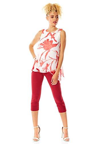Roman Originals Damen ärmelloses Overlay-Top mit Blumenmuster - Damen Blusen, gefüttert, Pastell, Tulpe, Top mit Spagettiträgern, transparent, Chiffon, Blusen - Rot - Größe 40