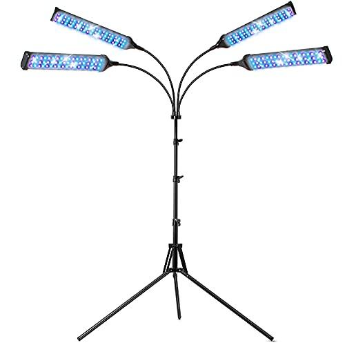 Lámpara de Crecimiento Plantas, 420 LED Focos Cultivo Interior de Espectro Completo con Soporte, Encendido/Apagado Automático y 9 Niveles Regulables para Enraizamiento /Floración (Negro-Cuadrado)