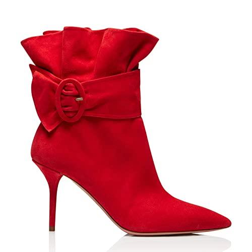 QUNHU Botas de Tacón de Tacón Stiletto for Mujer,Botas de Punta de Mujer,Botas Laterales con Cremallera,Regalos Festivos de Cumpleaños for Damas,Tamaños 34-46,Rojo,38 UE (Color : Red, Size : 43 EU)