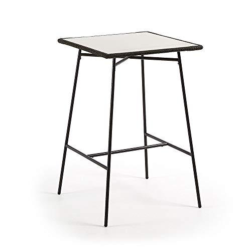 Kave Home - Mesa de Comedor Alta Leora Cuadrada 70 x 70 cm de Cemento y Patas de Acero en Negro para Interior y Exterior
