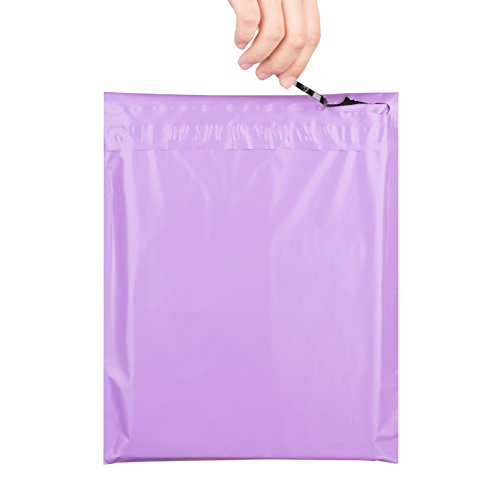 """Metronic 10x13"""" New Zipper Style Easy-Tear Sealing Light Purple Poly Mailer Envelopes Shipping Bags with Self Adhesive and Tear Strip, Waterproof and Tear-Proof Postal Bags, 100 Pcs"""